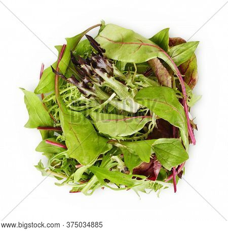 Leaves mix lettuce. Top view. Vegetable still life. Healthy eating. Isolated on white background.