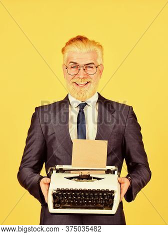 I Like It. Modern And Old Technology. Digital Business. Vintage Typewriter. New Technology. Successf