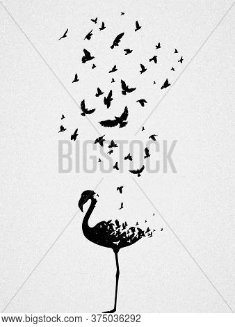 Flamingo Silhouette, Flying Birds. Endangered Animal. Life And Death. Wildlife Protection Concept. M