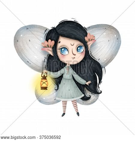 Cute Little Forest Fairy With Pink Flowers And A Vintage Lantern On A White Background