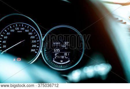 Closeup Car Fuel Gauge Dashboard Panel. Gasoline Indicator Meter And Speedometer. Fuel Gauge Show Fu