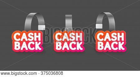 Realistic Detailed 3d Wobbler Cash Back Labels Set On A Grey. Vector Illustration Of Cashback Wobble