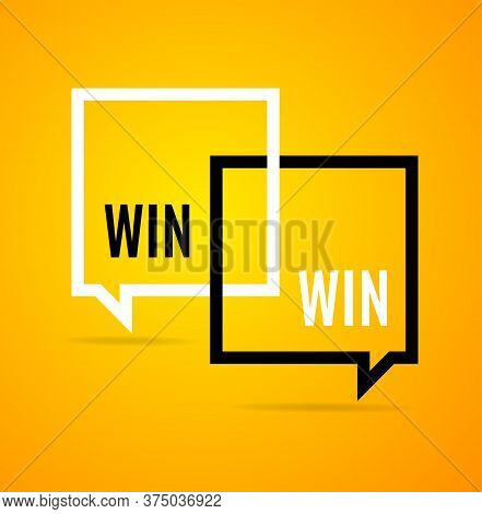Win Win Concept Square Banner Poster Flyer For Web Landing Page Template And Mobile App. Vector Illu