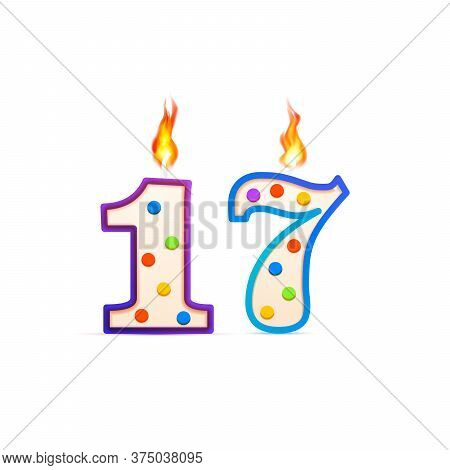 Seventeen Years Anniversary, 17 Number Shaped Birthday Candle With Fire On White