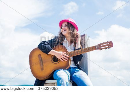 Talented Kid. Country Music Style. String Musical Instrument. Play On Acoustic Guitar. Little Girl P
