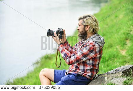 Slr Camera. Hipster Man With Beard Use Professional Camera. Photographer Hold Retro Camera. Journali