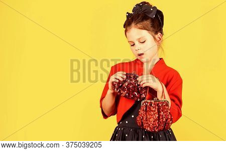 Exquisite Manners Concept. Vintage Trend. Elegant Retro Kid. Small Girl Vintage Fashion Outfit. Glam