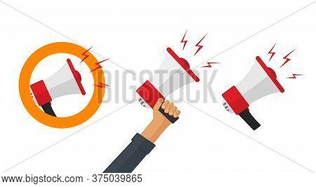 Megaphone Loudspeaker Vector Icons Set In Hand With Loud Speak Announce Or Bullhorn Shout Caution Al