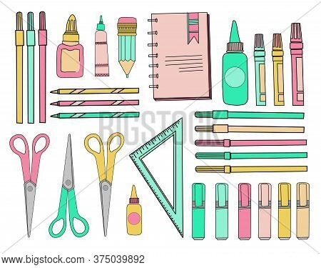 School Sticker Set. School Accessories. Stationery On A White Isolated Background. Scissors, Triangl