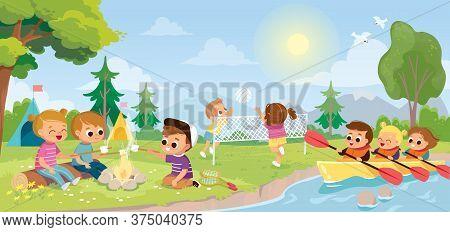 Summer camp landscape with kids. Children roast marshmallows on bonfire, campfire. Children play volleyball outside. Kids in canoe. Summer activity. School children kayaking.