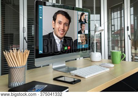 Video Call Business People Meeting On Virtual Workplace Or Remote Office. Telework Conference Call U