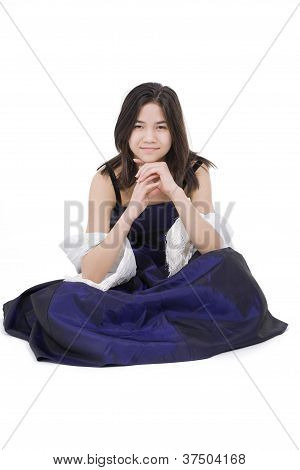 Young Teen Girl In Dark Blue Dress Gown Isolated On White