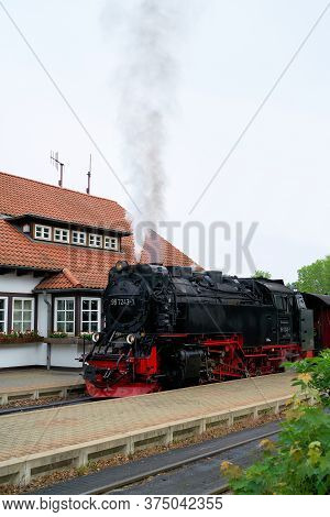 Wernigerode, Germany - May 23, 2020: Locomotive And Carriages Of The Brockenbahn In The Westerntor S