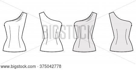 One-shoulder Top Technical Fashion Illustration With Fitted Body, Close Fit, Sleeveless, Side Zip Fa