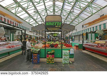 Rome, Italy - June 30, 2014: Fresh Food At New Farmers Market Near Termini Station In Rome, Italy.