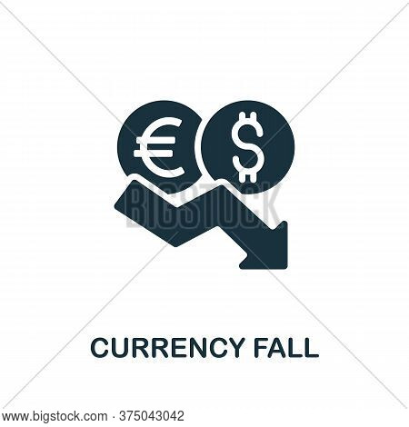Currency Fall Icon. Simple Element From Crisis Collection. Creative Currency Fall Icon For Web Desig