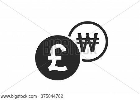 British Pound To Korean Won Currency Exchange Icon. Money Exchange And Banking Transfer Symbol