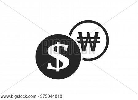 Dollar To Korean Won Currency Exchange Icon. Money Exchange And Banking Transfer Symbol