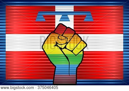 Shiny Lgbt Protest Fist On A Piedmont Flag - Illustration,  Abstract Grunge Piedmont Flag And Lgbt F