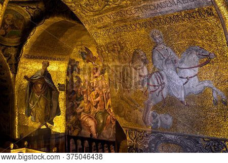 Venice, Italy - May 21, 2017: Golden Wall Mosaic Inside San Marco Or St Mark`s Basilica, It Is Great
