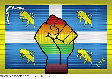 Shiny Lgbt Protest Fist On A Turin Flag - Illustration,  Abstract Grunge Turin Flag And Lgbt Flag