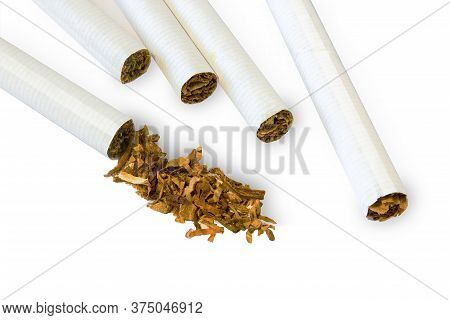 Tobacco Products Isolate On A White Background. Cigarettes And Sprinkled Tobacco