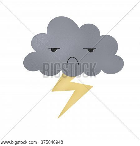 Cute Magic Grey Cloud With Lightning. Sad Moody Cloud. Kids Bad Mood Concept. Negative Emotions, Emo
