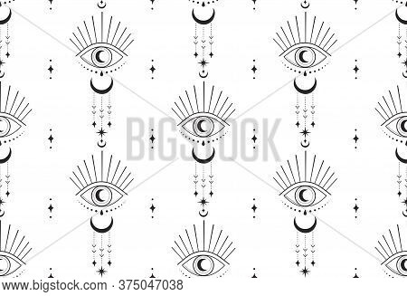 Abstract Hand Drawn Moon Eye Seamless Pattern Packaging Design. Background, Vector Illustration In T