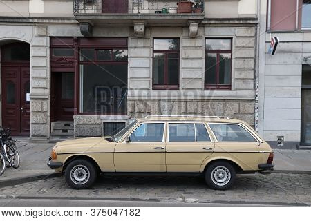 Dresden, Germany - May 10, 2018: Yellow Classic Oldtimer Mercedes-benz Car Parked In Germany. There