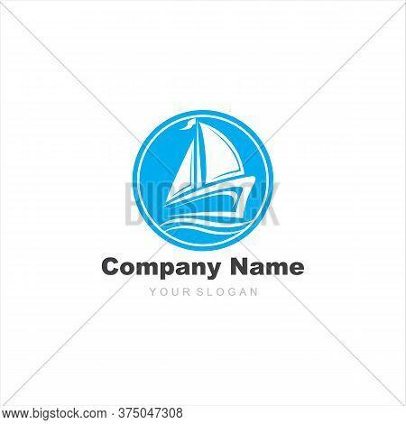 Ship Logo, Nautical Sailing Boat Icon Vector Design, Sailing Boat Icon Symbol, Vector Illustration,