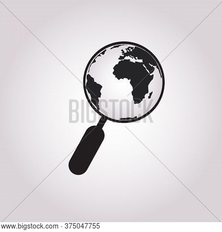 Globe With Magnifying Glass Icon. Planet Earth And Magnifier. Search Concept Icon.