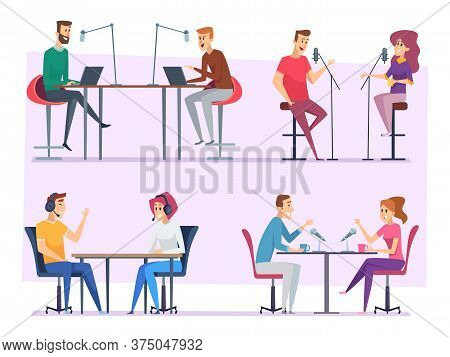 Broadcast Characters. Radio Show People Studio Making Sound And Music Microphone Vector Illustration