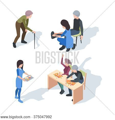 Nursing Home Care. Elderly Lifestyle Activity Helper Senior Medical Nursing Clinic Vector People. El