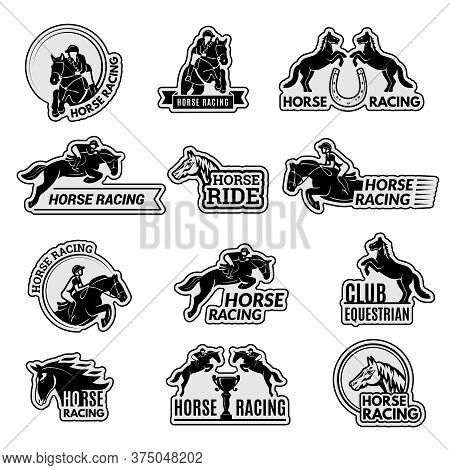 Equestrian Club Logo. Racehorse Sport Emblems Collection Stallion Domestic Riding Animals Vector Pic