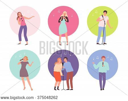 Singing Characters. Adult People In Karaoke Club Singing Solo Popular Music Vector Persons Isolated.