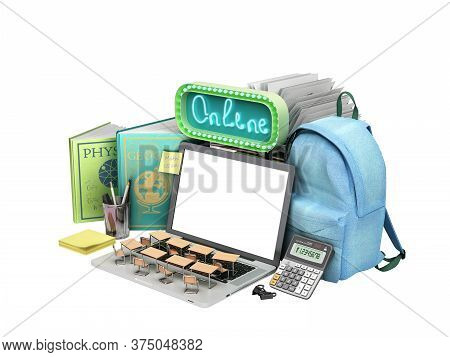 Online Education Concept Blue Backpack With School Supplies And Empty Screen Laptop 3d Render On Whi