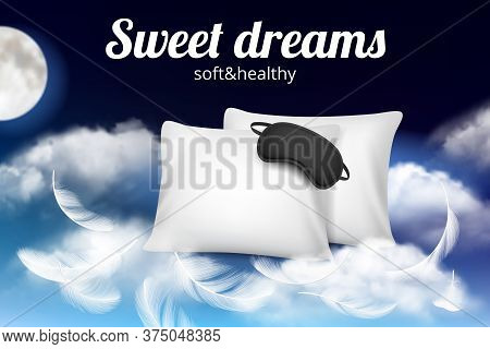 Night Dreams Poster. Relax Concept Placard With Soft Comfortable Pillow And Sleeping Mask On Clouds