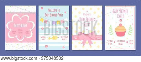 Baby Shower Party Cards. Birthday Invitation With Cute Kids Elements. Cartoon Newborn Flyers Vector