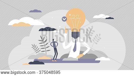Eureka Or Aha Moment As Idea Solution Discovery Flat Tiny Persons Concept. Innovation Breakthrough A