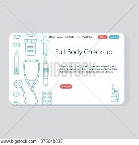 Full Body Check-up Vector Template For Website. Doodle Telehealth And Telemedicine Illustration.