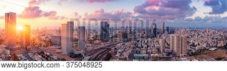 Tel Aviv Cityscape Aerial View At Sunset, Israel