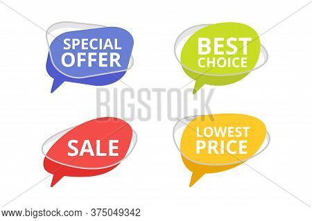 Tags In Dialog Box Form With Sample Text - Special Offer, Best Choice, Sale And Lowest Price - For S
