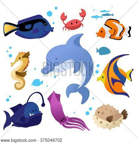 Cartoon Color Different Fish Icons Set Flat Design Style Include Of Crab, Octopus, Seahorse And Dolp