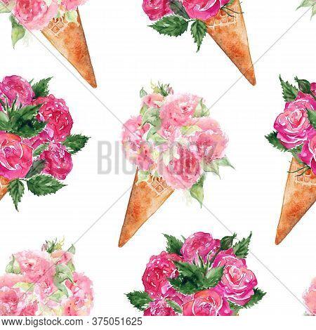 Watercolor Flower Bouquet Peony Rose Carnation Ice-cream Waffle Sweet Dessert Seamless Pattern Textu