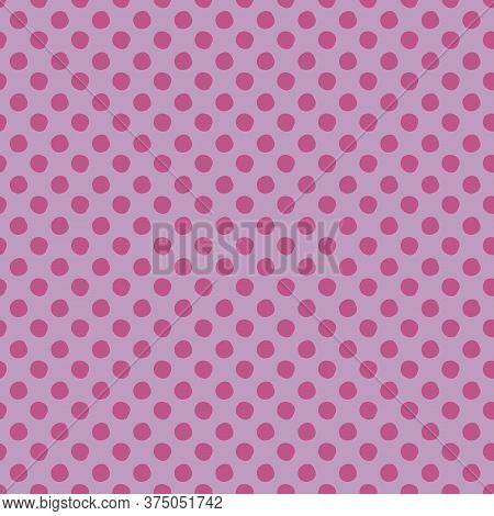 Lavender Polka Dots Seamless Vector Pattern On Lilac Background. Simple Hand Drawn Irregular Circles