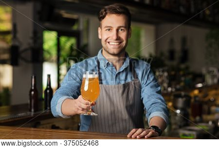 Craft Beer And Customer Service. Smiling Handsome Barman In Apron Looks At Camera And Gives Glass Of