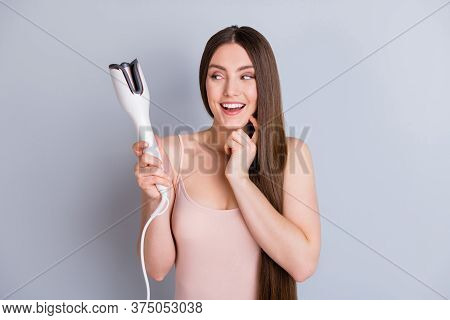 Photo Of Beautiful Lady Long Hairstyle Hold Electric Styler Curler Making Straight Curls Wavy Look I