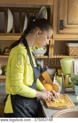 Beautiful Vegetarian Slices Vegetables On Wooden Board, Rustic Traditional Kitchen On Background, Wo