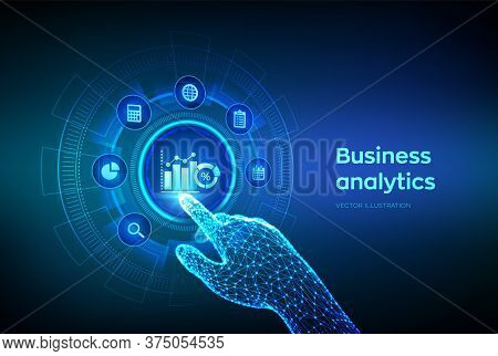 Business Data Analytics And Robotic Process Automation Concept On Virtual Screen. Profit And Revenue