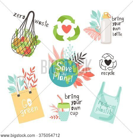 Zero Waste In Planet. Ecological Save World Concept, Using Durable And Reusable Items Without Plasti